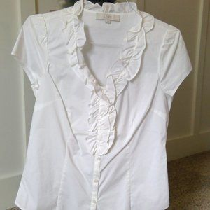 LOFT - White Ruffle Front Cotton Blouse